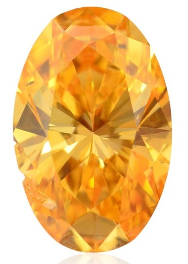 0.74-carat, oval-shaped, fancy vivid orange diamond