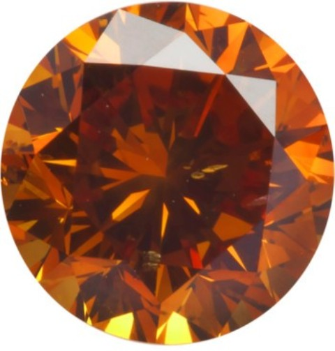 0.98-carat, modern round brilliant-cut, fancy deep-orange diamond