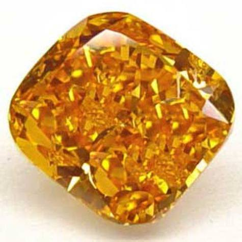 1.00-carat, natural, modified cushion-cut, pure orange diamond with a color grade approaching fancy intense to fancy vivid