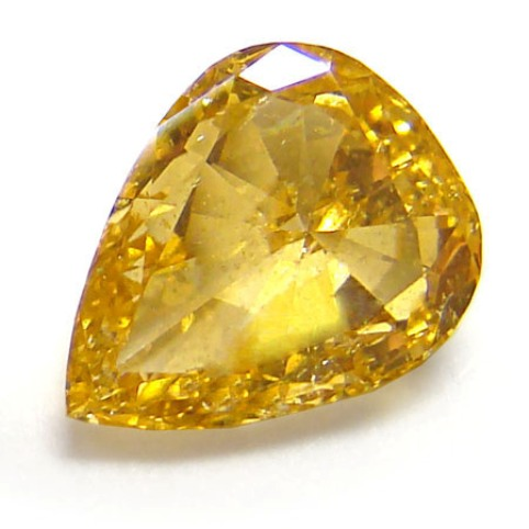 1.07-carat, pear-shaped, fancy intense yellow-orange diamond