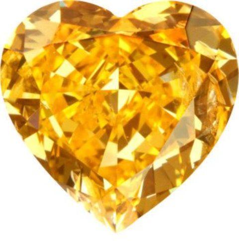 1.15-carat, fancy vivid yellowish-orange, heart-shaped diamond