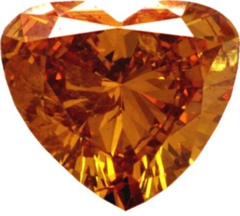 1.46-carat, fancy deep-orange, heart-shaped diamond