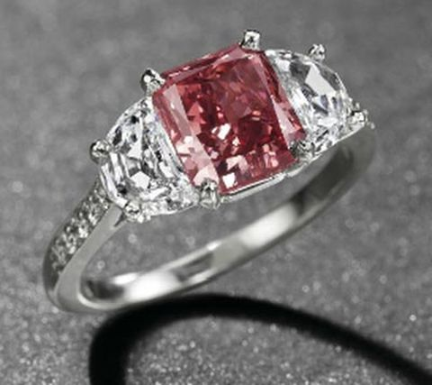 1.92-carat, rectangular-cut, fancy red diamond ring