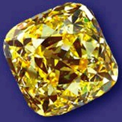 101.29-carat, fancy vivid yellow, cushion-cut Alnatt diamond