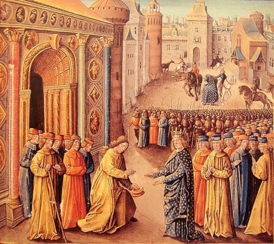 14th-century painting of Raymond of Poitiers welcoming Louis VII in Antioch