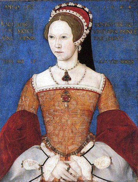 1544-portrait of Mary I by Master John showing her wearing a brooch set with colored stones and the La Peregrina hanging as a pendant