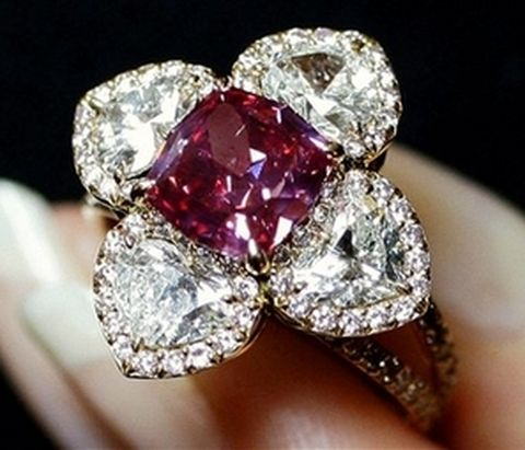 2.26-carat, fancy purplish-red, modified octagonal-cut diamond