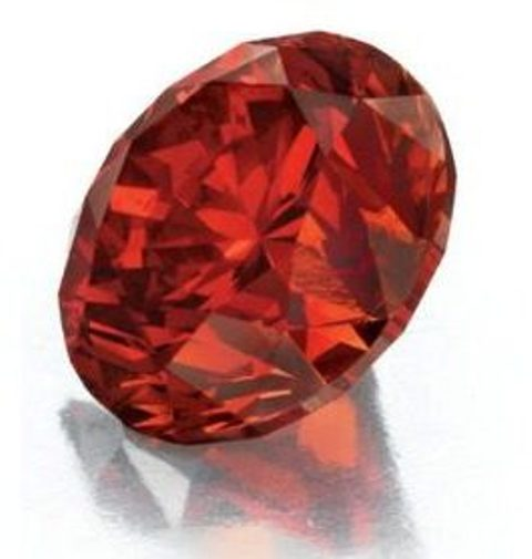 Another view of the 3.15-carat, circular-cut, fancy reddish-orange diamond