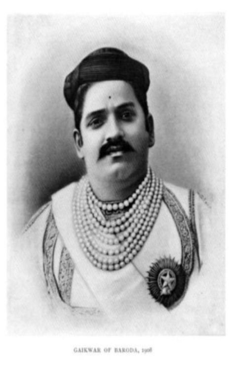 Sayaji Rao III , 12th Gaekwad of Baroda, wearing the seven-strand Baroda Pearl Neklace