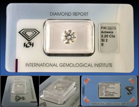 A sealed diamond report by the International Gemological Institute (IGI)