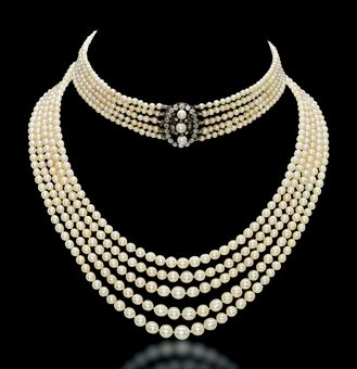 The 5 row antique natural pearl and diamond necklace