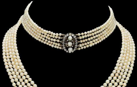 5 row antique natural pearl and diamond necklace