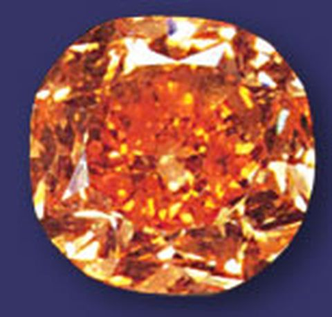 5.54-carat, fancy vivid orange, cushion-cut Pumpkin diamond