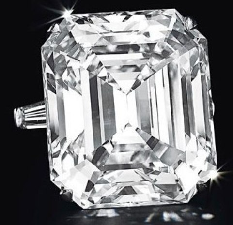 50.01-carat, D-color, rectangular-cut, potentially flawless diamond set in a ring by Graff