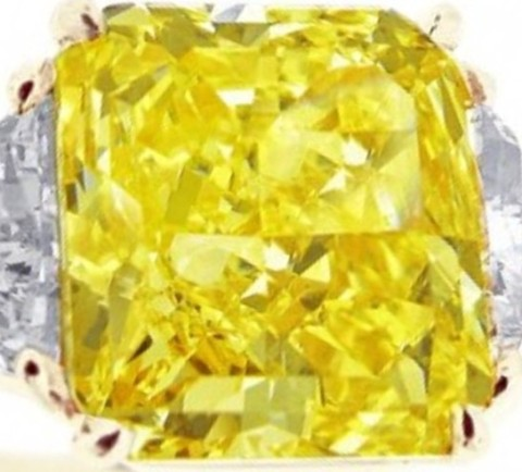 7.92-carat flawless starburst-cut natural fancy yellow diamond cut by U. Doppelt & Co