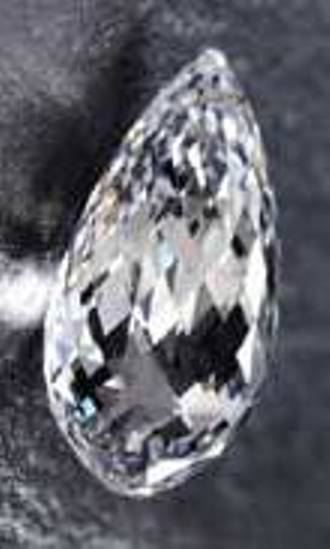 75.51-carat, d-color, internally flawless, briolette-cut diamond