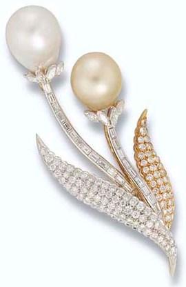 A cultured pearl and diamond spray brooch
