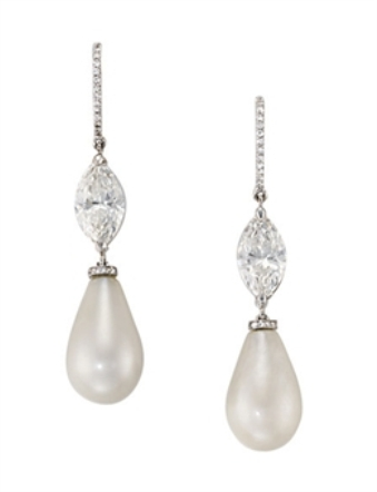 A fine pair of natural pearl and diamond ear pendants