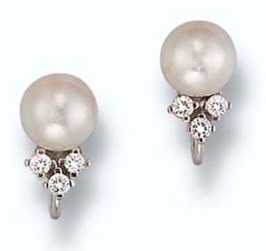 The Pair of Cultured Pearl and Diamond Earclips by Birks, Canada, which was Lot No, 15 at the auctions, was an often worn, well treasured pair of earrings, which H.R.H. Princess Margaret acquired before the 1960s, during her first official visit to Canada