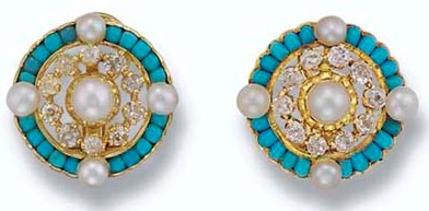 A Pair of Cultured Pearl, Turquoise and Diamond Earclips