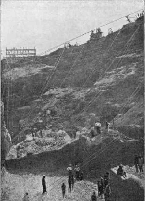 A section of the Kimberley Mine in 1874