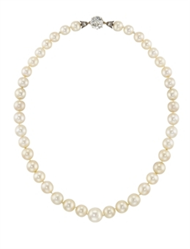A single row natural pearl and diamond necklace