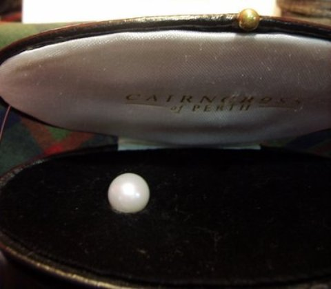 The Abernethy Pearl on display at Cairncross Jewelers, Perth, Scotland - Photo courtesy Kari Pearls