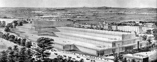 Aerial view of the Crystal Palace, built for the 1851 exhibition, it burned down in 1939.
