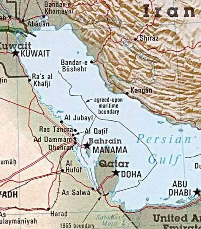 Map of the Persian Gulf, showing the pearling centers of Kuwait, Al-Qatif, Bahrain, Abu Dhabi on the Arabian side of the gulf and Bushehr on the Persian side of the gulf.