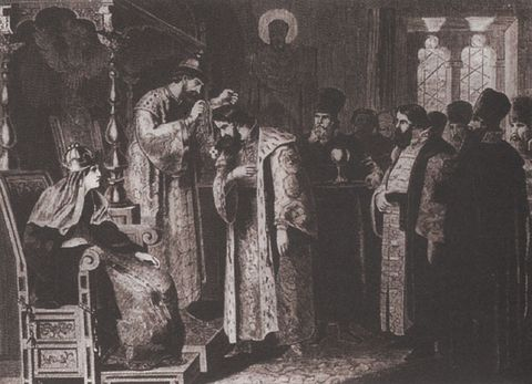 Aleksey Kivshenko painting (1851-96) titled Feodor Ivanovich presents a golden chain to Boris Godunov