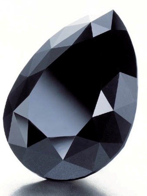 The 33.74-carat pear-shaped fancy black Amsterdam Diamond
