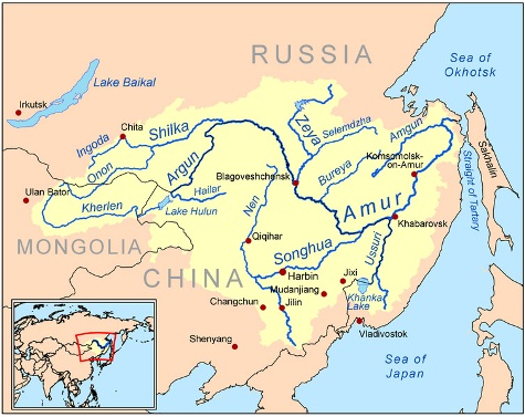 Amur River and its main tributary Songhua.
