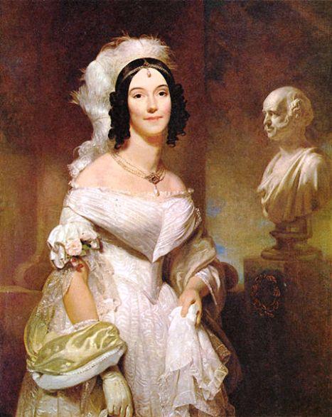 First Lady Angelica Van Buren- Is she wearing the Van Buren Pearl Necklace and pendant pearls?