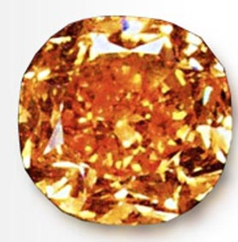 Enlarged image of the 5.54-carat, fancy vivid orange, Pumpkin Diamond - closest rival of The Orange Diamond, pushed to 2nd place after 16 years