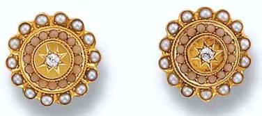 Antique Coral, Seed Pearl and Diamond Earclips