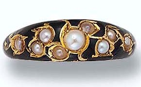 An Antique Enamel and Seed Pearl Ring