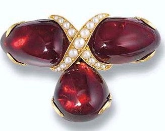 An Antique Garnet and Seed Pearl Brooch