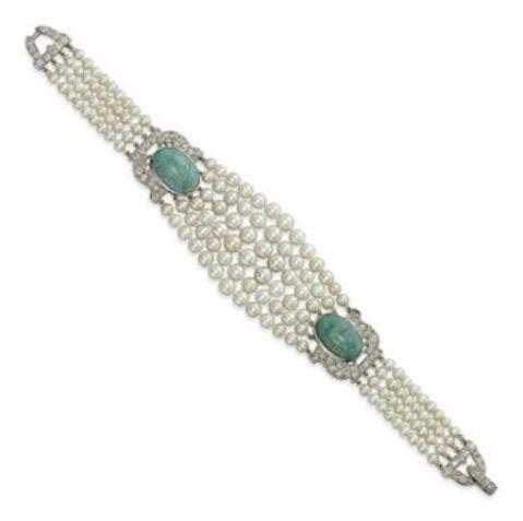 Cartier's Art Deco Pearl, Diamond & Turquoise Bracelet