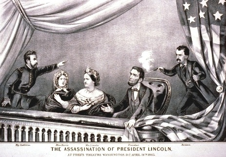 An artistic depiction of President Abraham Lincoln's assassination.