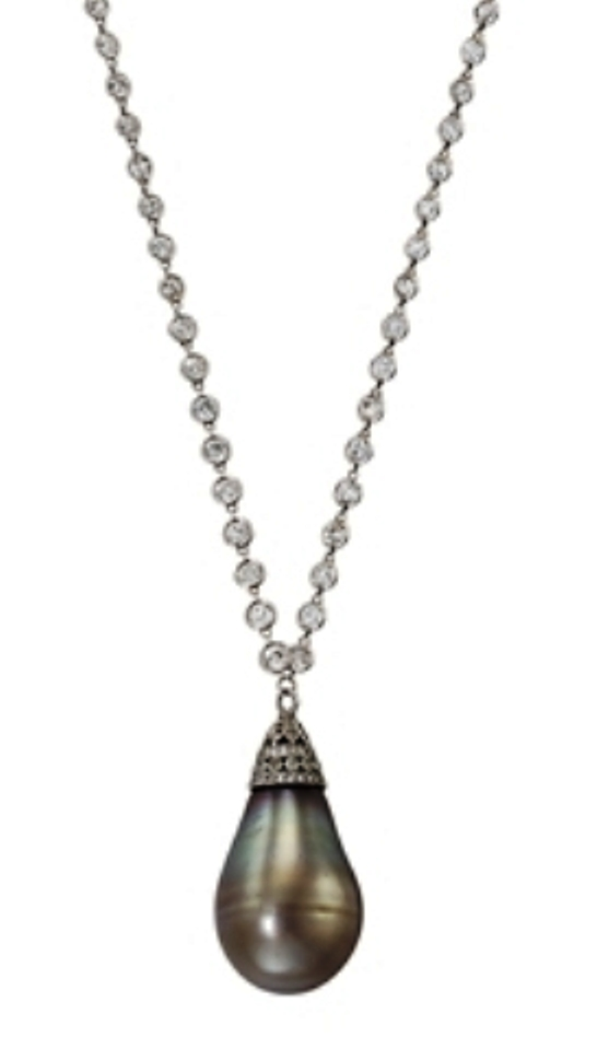 Belle Époque natural grey/brown pearl pendant necklace