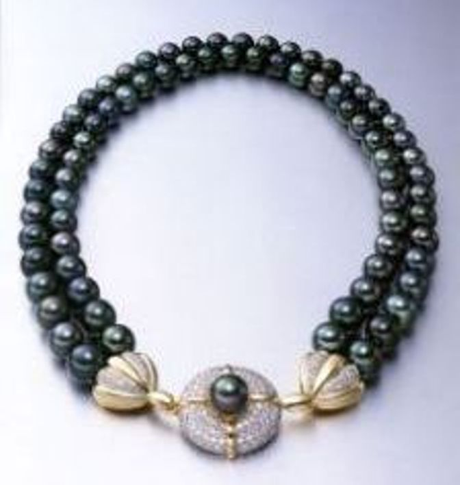Birks Black Tahitian Double Row Cultured Pearl Necklace