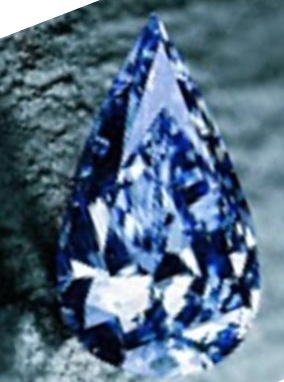 The perfectly symmetrical pear-shaped Blue Empress Diamond