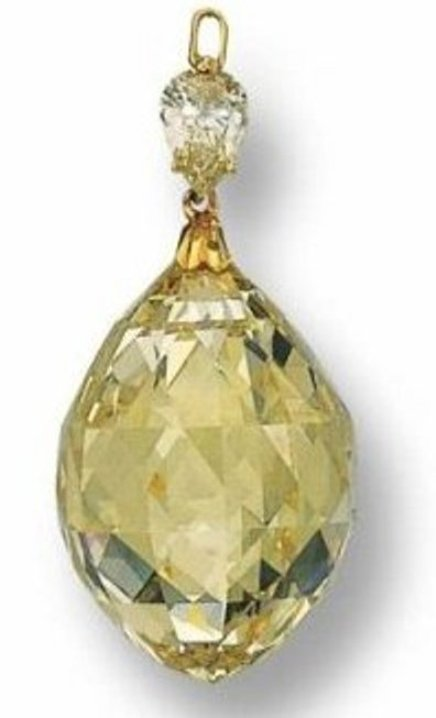 Fancy yellow briolette-cut diamond - 107.43 carats