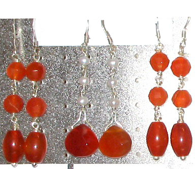Carnelian Gemstone Ear Drops Jewelry