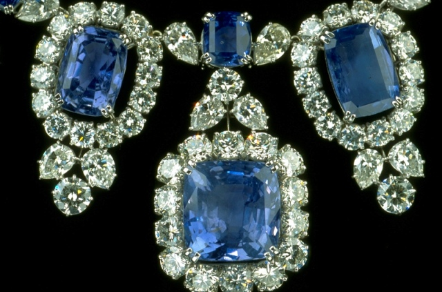 Close-up of Hall Sapphire and Diamond Necklace with fringes further enlarged