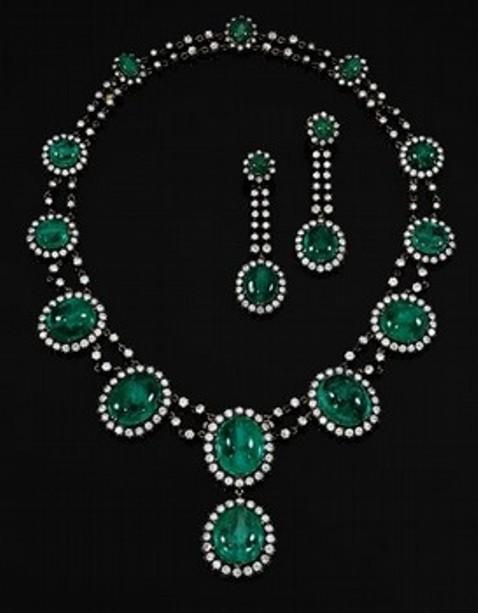 Countess Alina de Romanones emerald and diamond demi-parure