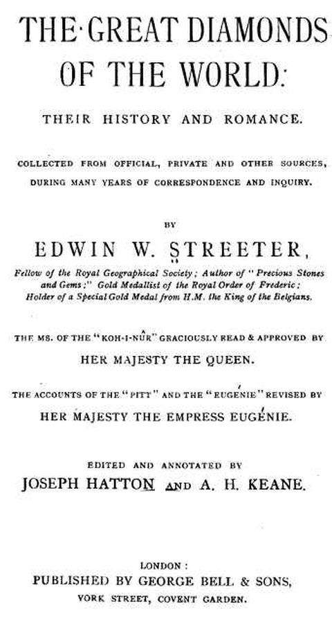"""Cover Page of Edwin W. Streeter's book """"The Great Diamonds of the World"""""""