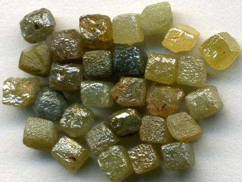 Cubic diamond crystals from Zaire in Africa