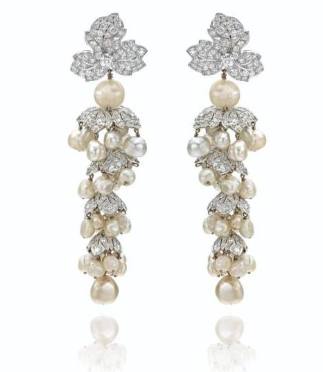 A pair of diamond and pearl pendant earclips