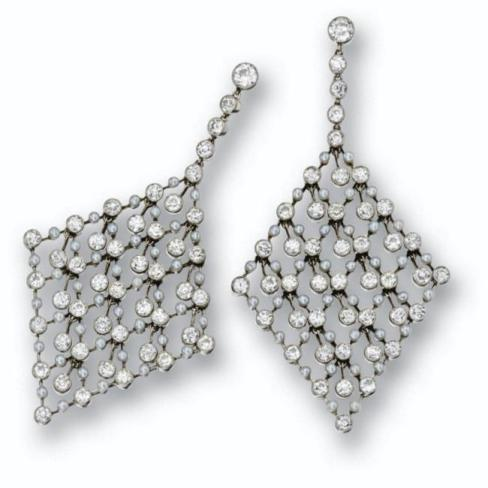 A pair of diamonds and seed pearl earrings
